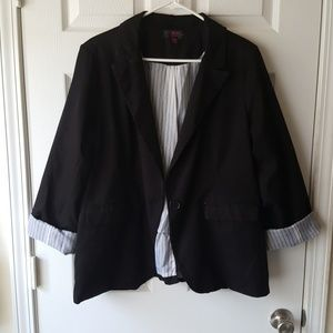 Black button front blazer with striped lining